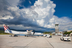 克罗地亚航空公司破折号8 Q400分裂 库存照片