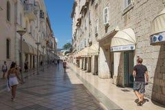 克罗地亚达尔马提亚著名遗产老站点分开的城镇科教文组织世界 库存照片