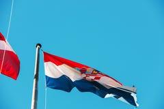 克罗地亚,三色Trobojnica的旗子 库存图片