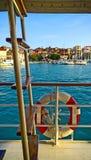 克罗地亚, Ciovo海岛看法从被停泊的游轮的 免版税库存照片