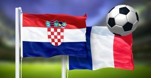 克罗地亚-法国,世界杯足球赛,俄罗斯2018年,国旗决赛  免版税库存图片