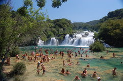克罗地亚krka国家公园瀑布 免版税库存照片