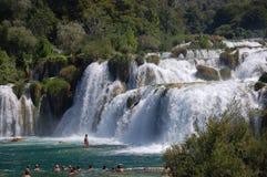 克罗地亚krka国家公园瀑布 免版税库存图片