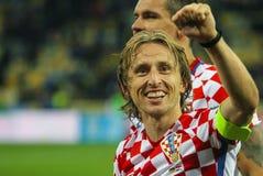 克罗地亚Luka Modric的国家队的球场中央部分 图库摄影
