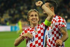 克罗地亚Luka Modric的国家队的球场中央部分 免版税库存照片