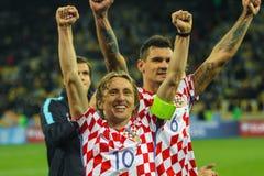 克罗地亚Luka Modric的国家队的球场中央部分 库存照片