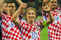 克罗地亚Luka Modric的国家队的球场中央部分 免版税库存图片
