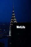 克莱斯勒大厦在晚上,曼哈顿, NYC 库存照片
