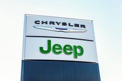 克莱斯勒,吉普汽车经销权标志 库存照片
