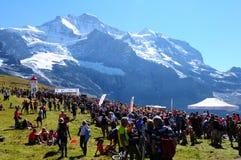 克莱茵沙伊德格:少女峰马拉松的结束 免版税库存照片