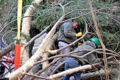 洛克菲勒中心圣诞树到来 库存照片