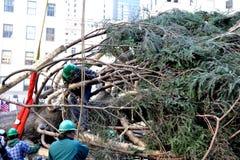 洛克菲勒中心圣诞树到来 库存图片