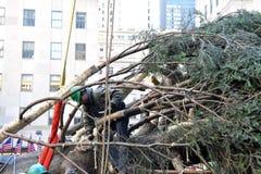 洛克菲勒中心圣诞树到来 免版税库存图片