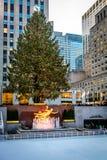 洛克菲勒中心装饰了圣诞树-纽约,美国 库存图片