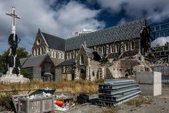 克赖斯特切奇在地震以后的大教堂重建 库存图片