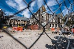 克赖斯特切奇在地震以后的市中心 免版税库存照片