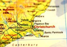 克赖斯特切奇地图 免版税库存图片