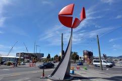 克赖斯特切奇地震改建-中坚力量雕塑-新的Zealan 免版税库存图片