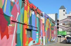 克赖斯特切奇地震改建-填隙墙壁艺术。 免版税图库摄影