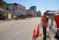 克赖斯特切奇地震曼彻斯特破坏街道 库存图片