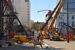克赖斯特切奇地震街道渥斯特 免版税图库摄影