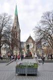 克赖斯特切奇大教堂在地震前的3天 库存图片