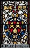克赖斯特切奇大教堂污迹玻璃窗 免版税库存图片