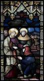 克赖斯特切奇大教堂污迹玻璃窗 库存照片