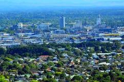 克赖斯特切奇市中心新的地平线-新的Zealan鸟瞰图  免版税库存照片