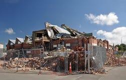 克赖斯特切奇毁坏了地震工厂 库存图片