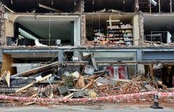 克赖斯特切奇毁坏了地震merivale界面 免版税库存图片
