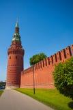 克里姆林宫与塔的墙壁视图在夏天 免版税库存照片