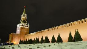 克里姆林宫主要时钟命名了在Spasskaya塔的Kuranti 红场 股票视频