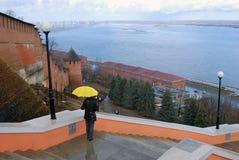 克里姆林宫在下诺夫哥罗德,俄罗斯 伏尔加河全景 免版税库存图片