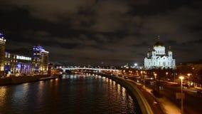 克里姆林宫在冬天,莫斯科,俄罗斯惊人的夜视图  股票录像