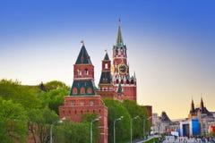 克里姆林宫在日落的莫斯科 免版税库存照片