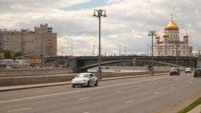 克里姆林宫堤防 横跨莫斯科河的桥梁 股票录像