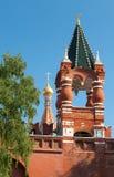 克里姆林宫墙壁的零件在莫斯科 俄国 免版税库存照片