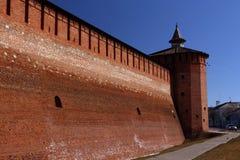 克里姆林宫的墙壁, Kolomna,俄罗斯 库存图片