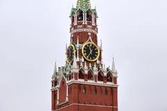 克里姆林宫的Spasskaya塔在莫斯科,俄罗斯 免版税库存照片