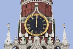 克里姆林宫的Spasskaya塔的鸣响的时钟。莫斯科 免版税库存图片