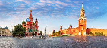 克里姆林宫,红场全景在莫斯科,俄罗斯 免版税库存照片