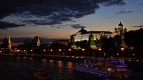 克里姆林宫,莫斯科河码头,盛大克里姆林宫宫殿,通告的大教堂,天使的大教堂 影视素材