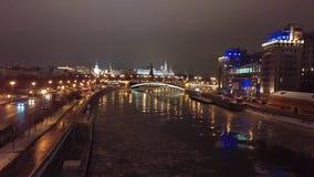 克里姆林宫,莫斯科河, 12月 库存照片