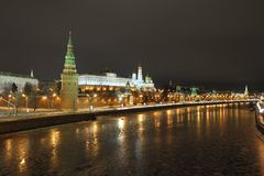 克里姆林宫,莫斯科河 2012年12月 免版税库存图片
