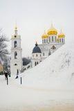 克里姆林宫建筑学在Dmitrov市,莫斯科地区,俄罗斯 库存照片