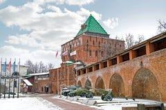 克里姆林宫Nizhny Novgorod 背景能堡垒照片使用的墙壁 库存照片
