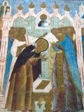 克里姆林宫rostov 位于教会墙壁的古老象看法  图库摄影