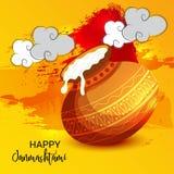 克里希纳Birthday阁下愉快的Janmashtami印地安节日  库存例证