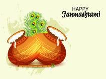 克里希纳Birthday阁下愉快的Janmashtami印地安节日  向量例证